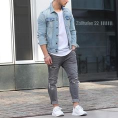 #denimjacket and white sneakers by @louisdarcis  [ http://ift.tt/1f8LY65 ]