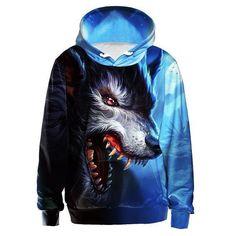 fb16667a1a29 3D Hoodie Wolf Print UNISEX Hoodie Black Light Blue