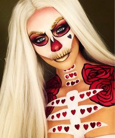 Halloween Makeup Ideas To Try This Year. To fix that, we combed tons of fashion style photos to bring you to copy right now. Amazing Halloween Makeup, Halloween Inspo, Halloween Fashion, Halloween Looks, Scary Halloween, Halloween Face Makeup, Queen Of Hearts Halloween, Queen Of Hearts Makeup, Sugar Skull Makeup