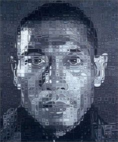 Zang Huan II, by Chuck Close. oil on canvas. Chuck Close Paintings, Chuck Close Portraits, Foto Logo, Yale School Of Art, Jasper Johns, A Level Art, Create Photo, Abstract Portrait, Pixel