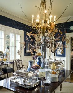 Oh My! I'm Black and Blue Black and Blue Decor wonderful traditional dining room with navy walls and white trim by Nell Hill Dining Room Blue, Dining Room Walls, Dining Room Design, Dining Decor, Living Room, Navy Walls, Blue Rooms, Style Vintage, White Decor