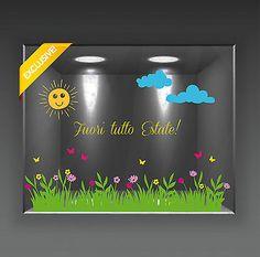 Vetrofania Vetrofanie Vetrine Adesivi Sconti Saldi Fiori Farfalle Estate • EUR 30,00