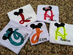 Custom Applique Mickey Initial shirt perfect for Disney vacation, birthday… Disney Diy, Disney 2015, Disney Crafts, Disney Dream, Disney Love, Disney Magic, Walt Disney, Disney Stuff, Disney Shirts