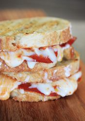 Pizza Panini from Our Best Bites  -my kids saw this picture and they are  begging me for one of these