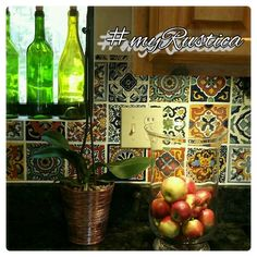 Mexican tiles for kitchen backsplash, counter, wall and stair risers by Rustica House. #myrustica