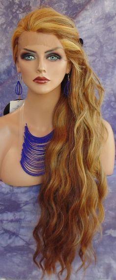 LACE FRONT WIG LONG WAVY RED/BLOND HIGHLIGHT F2014 GORGEOUS  USA SELLER 191 #SEPIA #FullWig