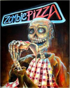 Day of the Dead Zombie Pizza Quality Print by artist Heather Calderon