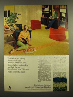 1967 Bigelow Doverton Carpet in Marigold Tweed Ad 1960s Interior Design, Financial Analyst, Marigold, Vintage Ads, Looking Back, Magazine Covers, Dapper, Tweed, Posters