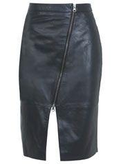 Black Asymmetric Leather Skirt