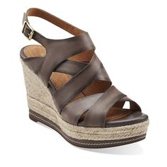 Amelia Drift in Dark Grey Leather - most comfortable wedges I have ever owned!  Cushioned footbed AND light as air!!