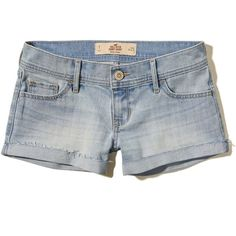 Hollister Low Rise Denim Short-Shorts ($16) ❤ liked on Polyvore featuring shorts, light wash, denim shorts, hot pants, cuffed denim shorts, hot short shorts and mini shorts