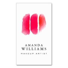 Red Watercolor Makeup Swatches Makeup Artist Business Card