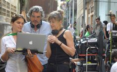 Watching Rushes   Melanie, Stephen and Susanna Lenton (Script Supervisor)