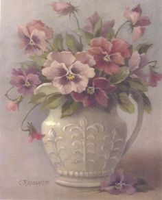 Mother loved Pansies-painting by Christie Repasy