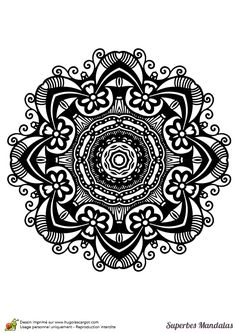 Coloriage d'un superbe mandala assez complexe avec un motif floral - Hugolescargot.com
