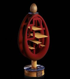 """""""Un oeuf mais pâ-ques... Acte II #easter #egg #chocolate #sculpture #sesame #marble #gold #chinese #shelf #inspiration #totem #red #lacquer…"""""""