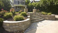 Front Yard Landscaping Ideas - contemporary - landscape - other metro - by Allan Block Retaining Wall and Patio Wall Systems Landscaping Around Patio, Stone Landscaping, Landscaping Retaining Walls, Landscaping With Rocks, Landscaping Ideas, Backyard Patio, Backyard Ideas, Terra Cotta, Yard Stones
