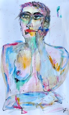 """Pensierosa"" Tati Araujo watercolors and ink on paper 2013"