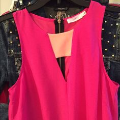Neon pink dress with orange insert and zipper A line dress, fully lined. 33.5' total length. NWOT. Lush Dresses