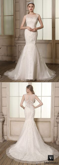 Elegant tulle bateau neckline mermaid wedding dresses with beaded lace appliques. It is best for for a hourglass silhouette. (WWD90639) - Adasbridal.com