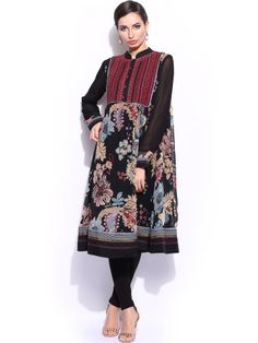 Ritu Kumar Women Black Printed Churidar Kurta