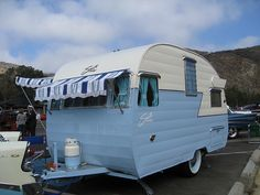 cute blue and white Shasta; The cutest trailer outside of a teardrop