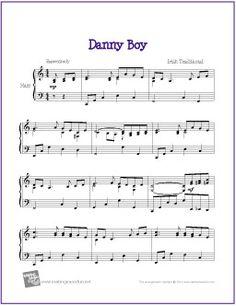 Danny Boy | Free Sheet Music for Harp - http://www.makingmusicfun.net/htm/f_printit_free_printable_sheet_music/danny-boy-harp.htm