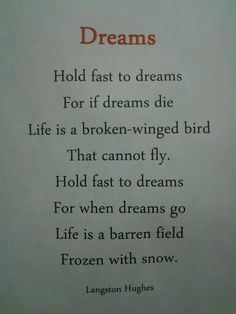 Dreams by Langston Hughes Birds That Cannot Fly, Langston Hughes, Fantastic Quotes, Universal Works, Auction Projects, American Poets, Playwright, Word Of The Day, Civil Rights