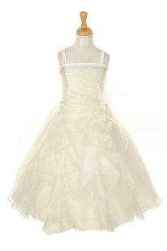 Girls Long Ivory Dresses with Scarf and Ruffled Skirt are a must have for girls who want to look pretty during a wedding or any formal event. Made out of crystal organza, the ivory dress features a be