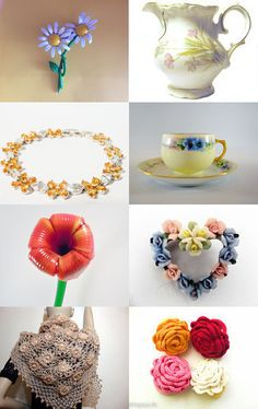 Summer Flowers Treasury  by Julie Duvall on Etsy--Pinned with TreasuryPin.com My Antique Ginori plate is featured here.