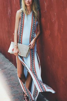 Blue Sleeveless Bohemia Print Side Split Maxi Dress