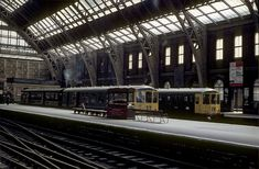 Diesel trains on platforms 5 and 6 at Manchester Central Station in the Manchester Central, Manchester England, Manchester City, Liverpool Life, Old Train Station, Old Trains, British Rail, Central Station
