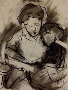 Drawing / 24 x 19 inch / Charcoal on paper Robert De Niro, SR., Mother and Child Rearing, 1957 Charcoal on paper, 24 1/2 x 19 1/4 inches