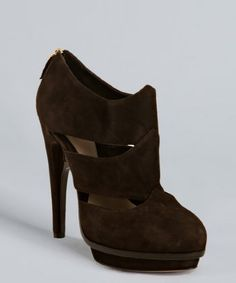 Fendi Brown Suede Cutout Platform Booties