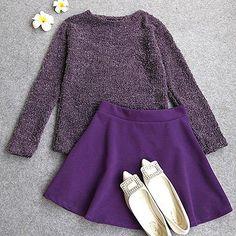 Zhao咪咪的小铺子,2014秋冬季新款韩版修身显瘦紫色毛绒针织长袖短裙休闲套装 女装