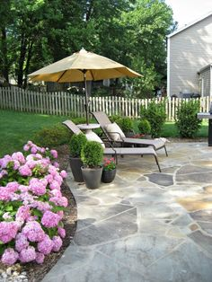 It's been awhile since I've talked about our patio. Here's the recap: we redid our patio about 2 years ago (full story here), and since t. Concrete Patios, Flagstone Patio, Pool Pavers, Patio Stone, Backyard Plan, Backyard Patio, Outdoor Landscaping, Outdoor Gardens, Slate Patio