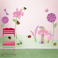Flower and Bugs Wall Mural Sticker Kit - Flower Decals - Girls Room
