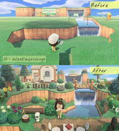 Fang's house before & after: AnimalCrossing Animal Crossing Wild World, Animal Crossing Guide, Animal Crossing Villagers, Petunias, Ac New Leaf, Motifs Animal, Animal Games, Island Design, Beautiful Islands