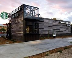 This drive thru Starbucks store outside of Denver was built from reclaimed shipping containers as part of a pilot program launched to open a series of environmentally-friendly coffee shops around the world that push the design envelope.