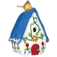 This hand-felted wool birdhouse is made of sustainably harvested, naturally water repellent wool. Wool is also naturally dirt and mold resistant. Felt Heidi Chalet Birdhouse by Custom Made. Swiss Chalet, Felt Birds, Wool Felt, Felted Wool, Small Birds, Handmade Felt, Decoration, Blue Bird, Bird Houses