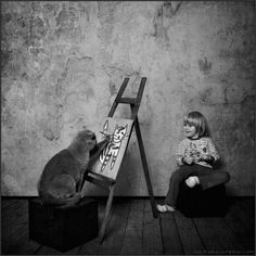Saint Petersburg, Russia-based photographer Andy Prokh has taken these sweet, storytelling photos of his daughter Katherine growing up with her curiously cute British Shorthair cat, named LiLu Blue Royal Lada. Crazy Cat Lady, Crazy Cats, Girl And Cat, Black White Photos, Black And White, Top Photos, Photographer Humor, Son Chat, British Shorthair