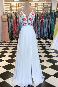 White v neck chiffon applique long prom dress, white evening dress #womensfashion#fashionable
