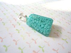 Resin Pendant, Green Blue Beads, Bead Pendant, Beads Necklace,  Resin Jewlery, Handmade