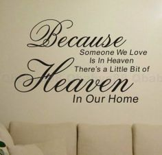 Because heaven Wall quotes decals Removable stickers decor DIY home family art