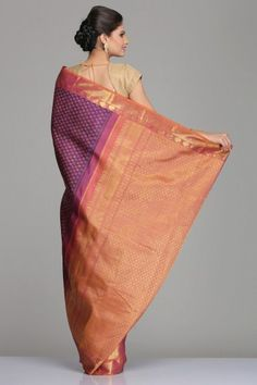 Purple Kanjivaram Silk Saree With All-Over Circular Motifs And Pink & Orange Dual-Shaded Border & Pallu With Half-Fine Gold Zari Checkered Pattern