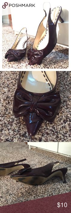 Pointy toe, kitten heel, plum sling back So cute! Shiny plum is a perfect fall jewel tone with any work outfit or skinny date jeans! Sling back kitten heels are comfy for long days in the office and easy to walk on downtown street. Worn often. Enzo Angiolini Shoes Heels