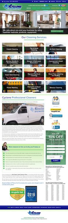 Cyclone Professional Cleaners in Plano Texas gets new Responsive Website by Red Spot Design