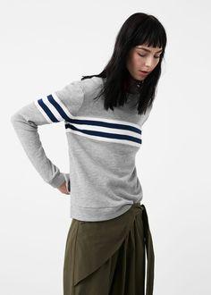 Contrast trim sweatshirt - Sweatshirts for Woman | MANGO United Kingdom