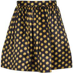 Moschino Button Emblem Black Pleated high waist silk satin skirt found on Polyvore