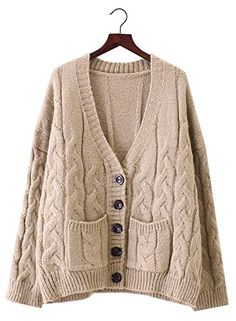 Futurino Womens Long Sleeve Chunky Aran Cable Knitted Grandad Cardigan Sweaters -- Details can be found by clicking on the image. (This is an affiliate link)